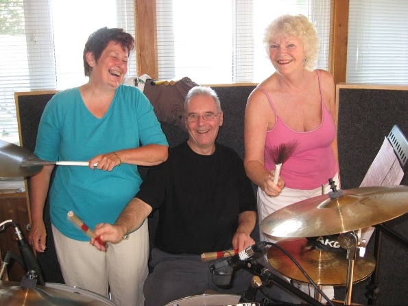 Jim Burgess showing Marilynn and Margaret some of his best moves,